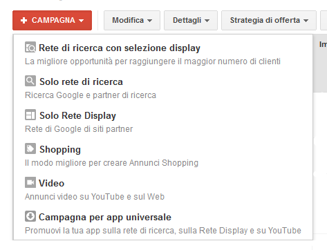 Tipi di Campagne Google AdWords